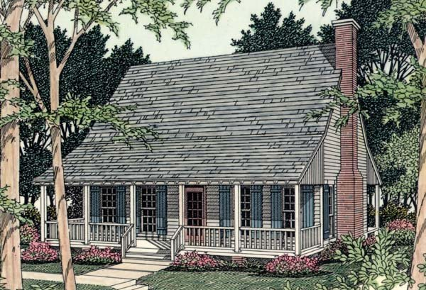 Cabin, Country, Southern House Plan 40025 with 2 Beds, 1 Baths Elevation