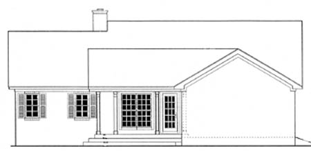 House Plan 40028 with 3 Beds, 2 Baths, 2 Car Garage Rear Elevation