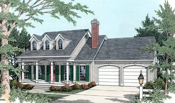 Cape Cod, Country House Plan 40029 with 3 Beds, 2 Baths, 2 Car Garage Elevation
