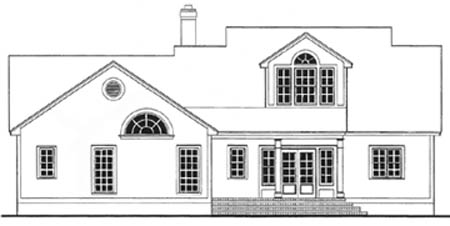 Cape Cod, Country House Plan 40029 with 3 Beds, 2 Baths, 2 Car Garage Rear Elevation