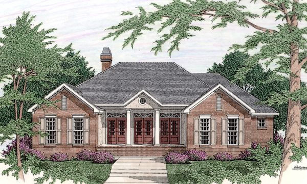 Colonial House Plan 40030 with 3 Beds, 2 Baths, 2 Car Garage Elevation