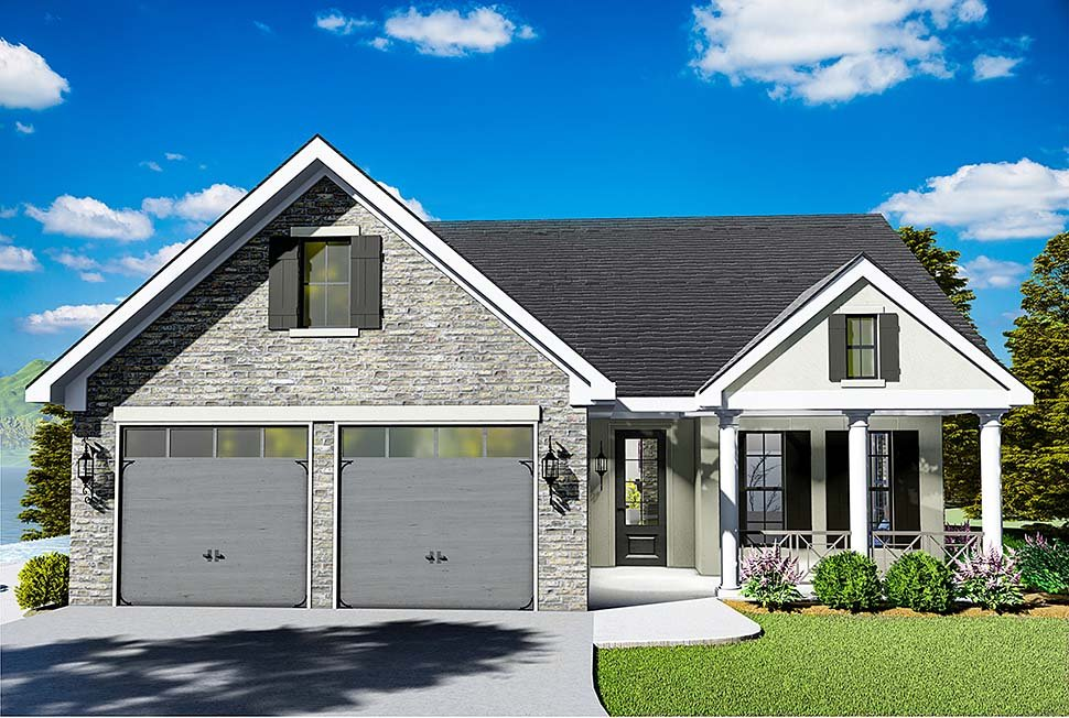 Cape Cod, Coastal, Cottage, Country, Southern, Traditional House Plan 40040 with 3 Beds, 2 Baths, 2 Car Garage Elevation