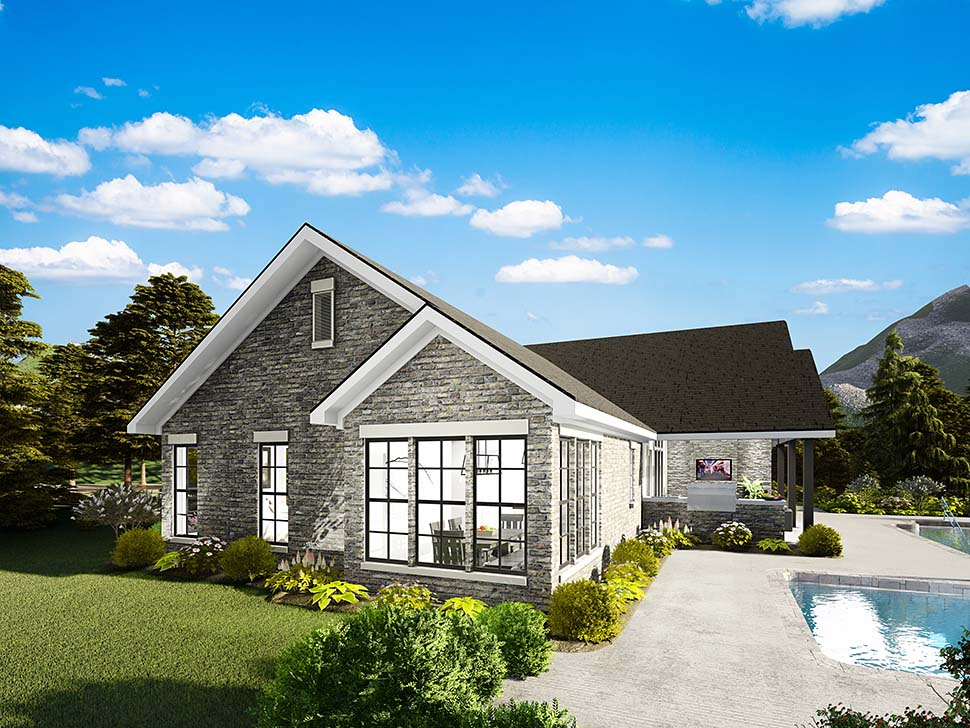 Cape Cod, Coastal, Cottage, Country, Southern, Traditional House Plan 40040 with 3 Beds, 2 Baths, 2 Car Garage Rear Elevation