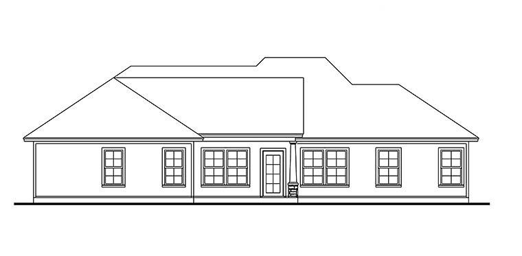 Cape Cod, Cottage, Country, Craftsman, Farmhouse, Southern, Traditional House Plan 40042 with 3 Beds, 2 Baths, 2 Car Garage Rear Elevation