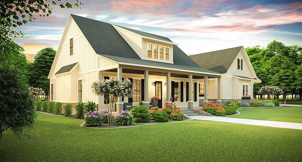 Country, Farmhouse, Southern House Plan 40045 with 3 Beds, 2 Baths, 2 Car Garage Picture 2