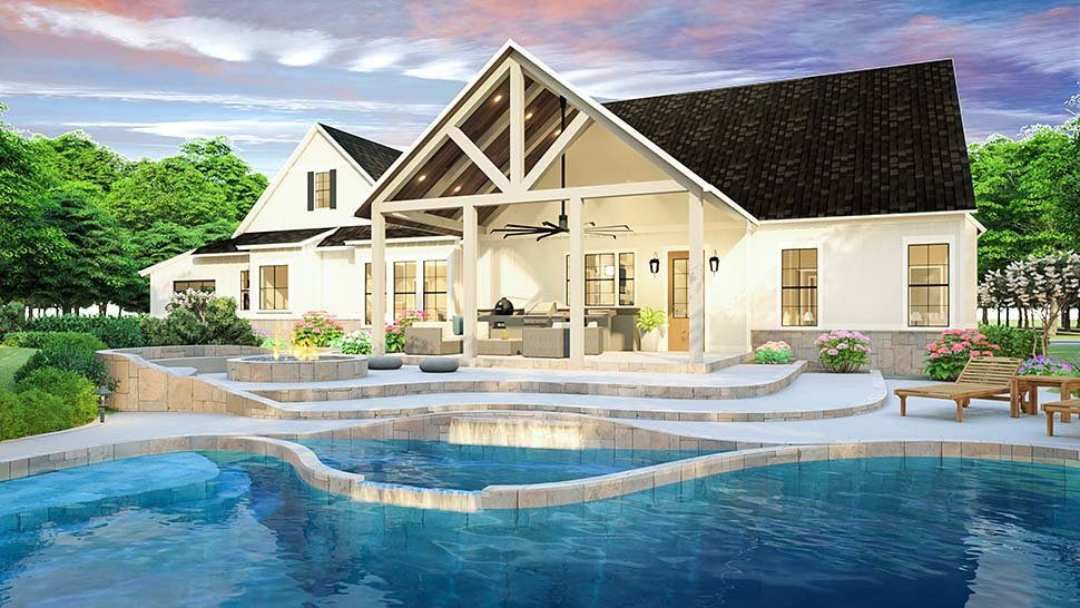 Country, Farmhouse, Southern House Plan 40045 with 3 Beds, 2 Baths, 2 Car Garage Rear Elevation