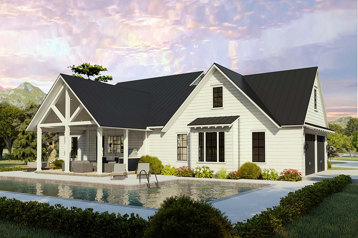 Cottage, Country, Craftsman, Farmhouse, Ranch, Southern, Traditional House Plan 40046 with 4 Beds, 2 Baths, 2 Car Garage Picture 2