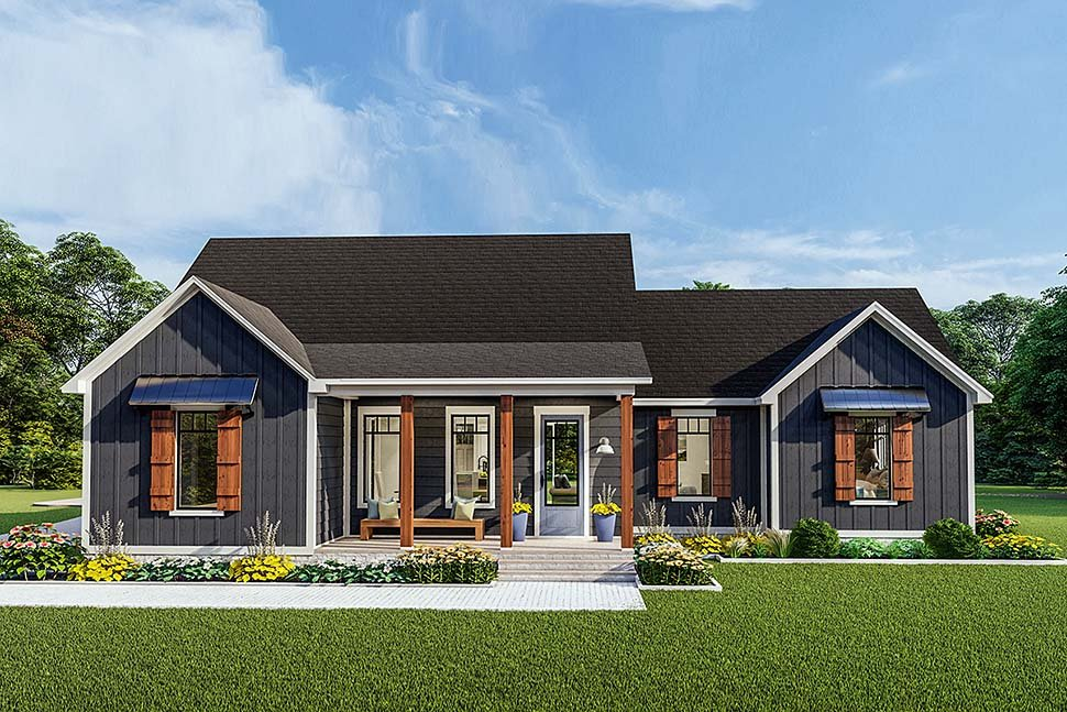 Cottage, Country, Craftsman, Farmhouse, Ranch, Southern, Traditional House Plan 40048 with 3 Beds, 2 Baths, 2 Car Garage Elevation