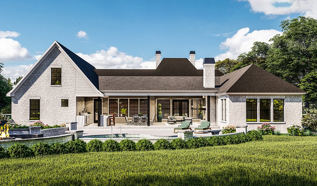 Country, Farmhouse, French Country, Southern, Traditional House Plan 40051 with 4 Beds, 3 Baths, 2 Car Garage Rear Elevation