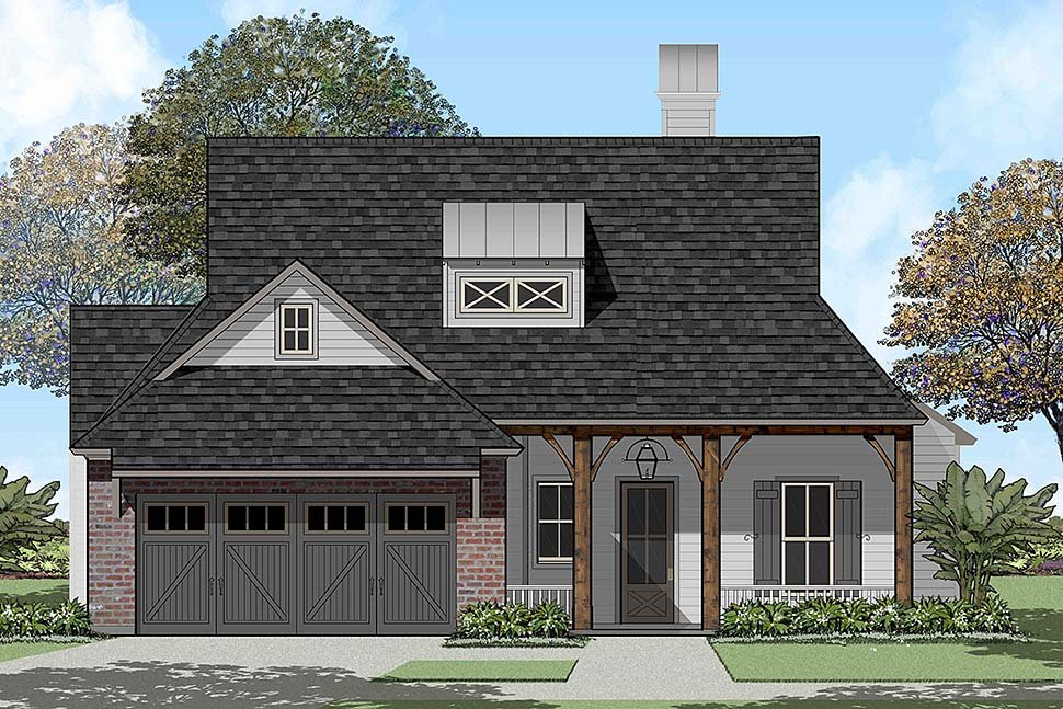 Country, French Country, Southern House Plan 40324 with 4 Beds, 2 Baths, 2 Car Garage Elevation