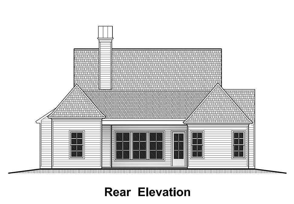 Country, French Country, Southern House Plan 40324 with 4 Beds, 2 Baths, 2 Car Garage Rear Elevation