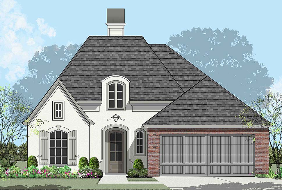 European, French Country House Plan 40326 with 4 Beds, 2 Baths, 2 Car Garage Elevation