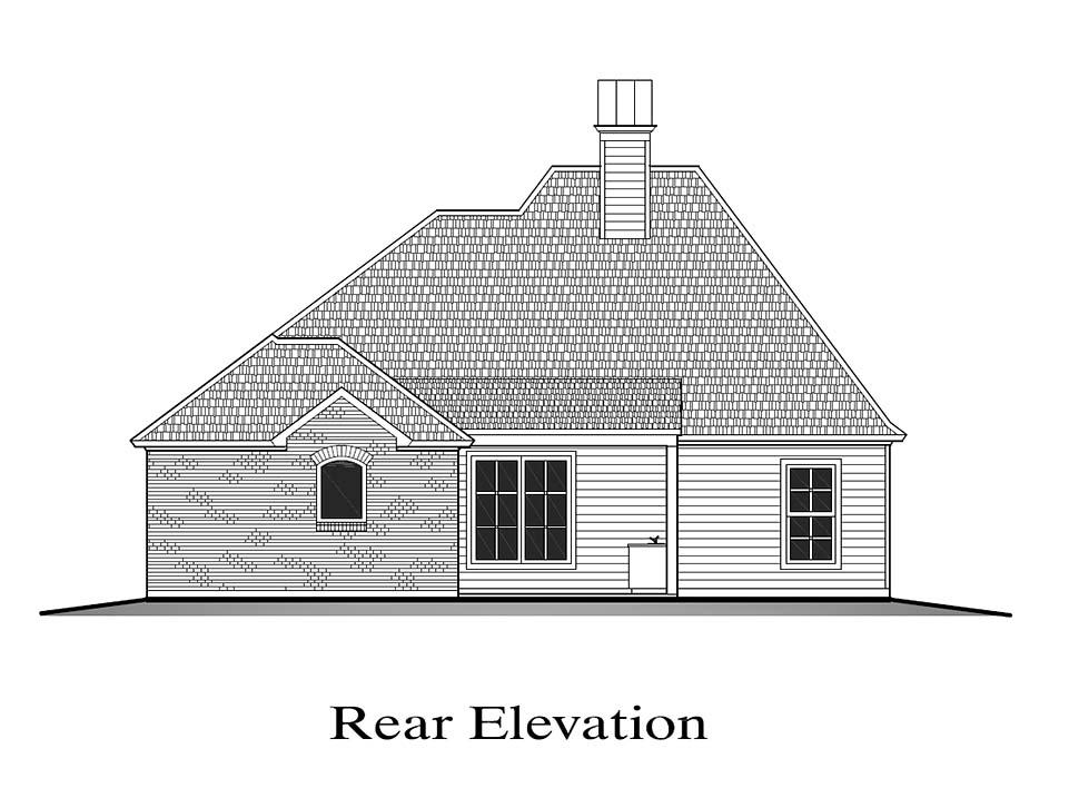 European, French Country House Plan 40326 with 4 Beds, 2 Baths, 2 Car Garage Rear Elevation