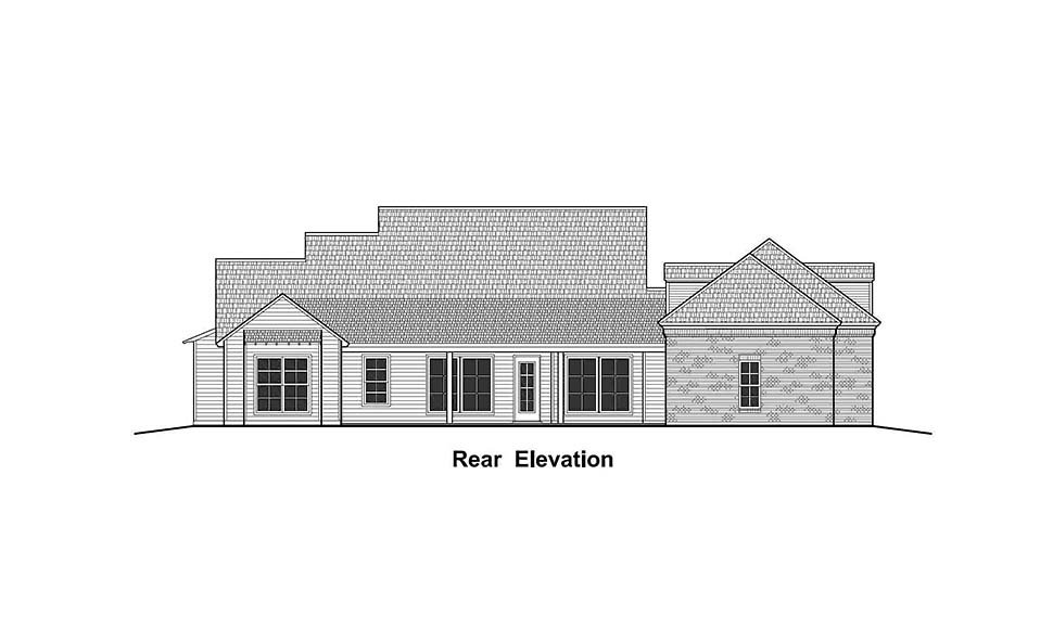 Colonial, Country, French Country, Southern, Traditional House Plan 40330 with 4 Beds, 3 Baths, 3 Car Garage Rear Elevation
