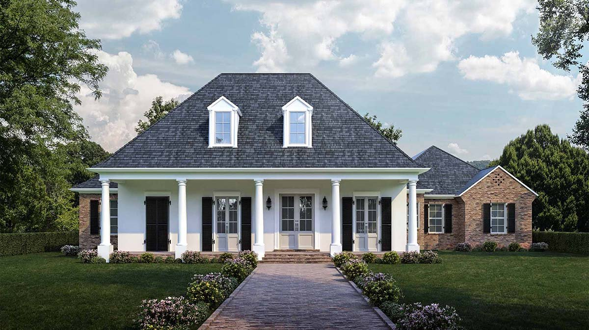 Colonial, Country, French Country, Southern House Plan 40332 with 4 Beds, 3 Baths, 3 Car Garage Elevation