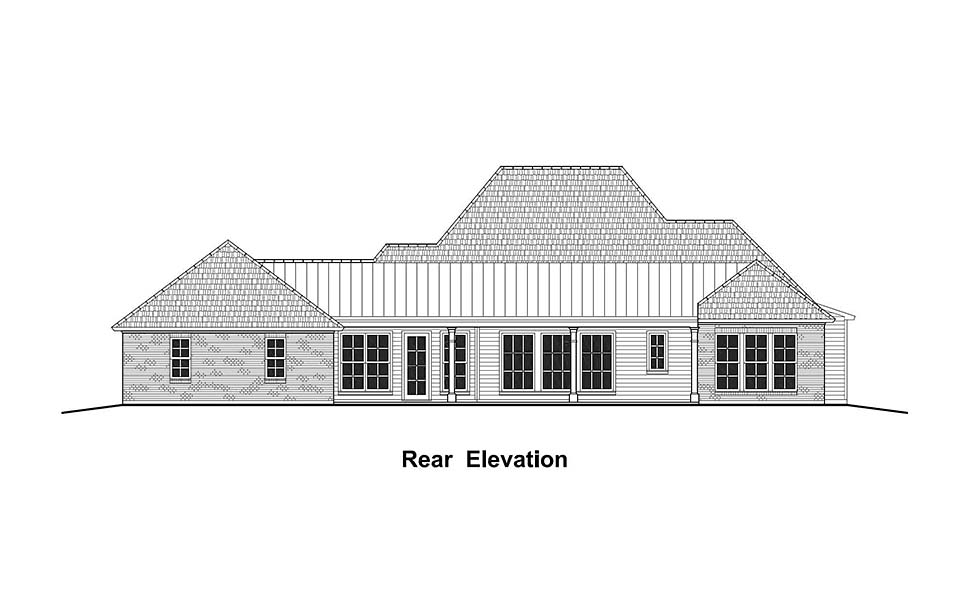 Colonial, Country, French Country, Southern House Plan 40332 with 4 Beds, 3 Baths, 3 Car Garage Rear Elevation