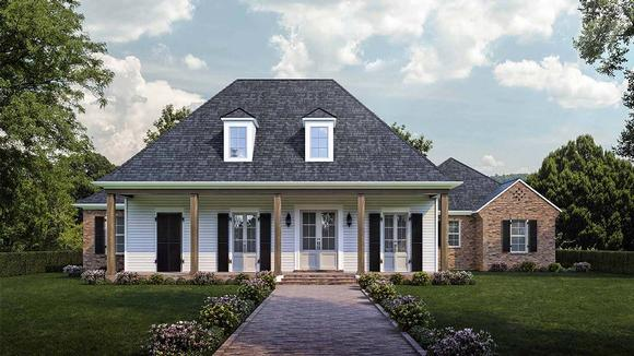 Colonial, Country, French Country, Southern House Plan 40344 with 4 Beds, 3 Baths, 2 Car Garage Elevation