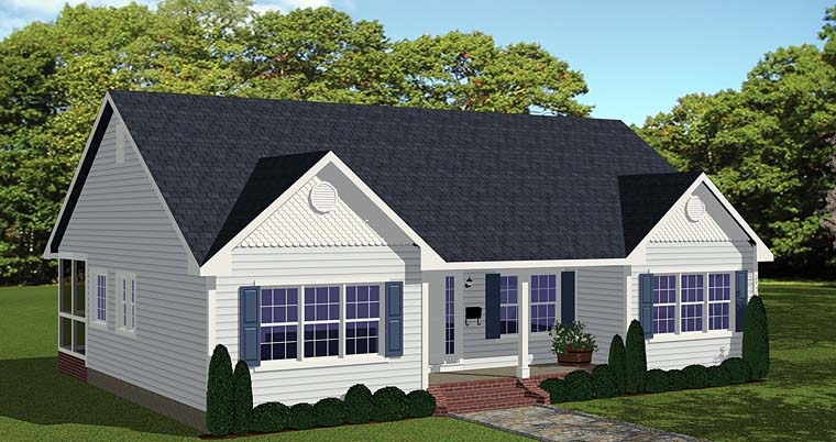 Ranch, Traditional House Plan 40628 with 3 Beds, 2 Baths Elevation