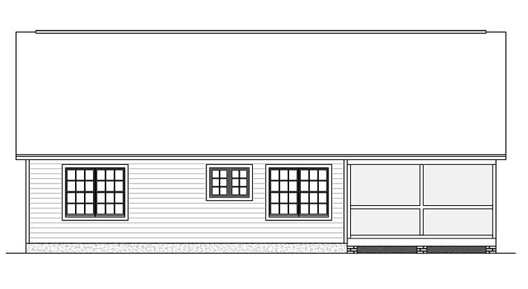 Ranch, Traditional House Plan 40628 with 3 Beds, 2 Baths Rear Elevation