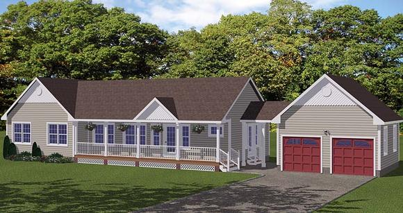 Country, Ranch, Southern House Plan 40648 with 3 Beds, 3 Baths, 2 Car Garage Elevation