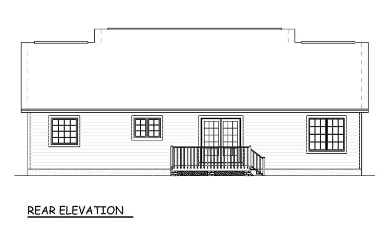 Ranch, Traditional House Plan 40649 with 3 Beds, 2 Baths Rear Elevation
