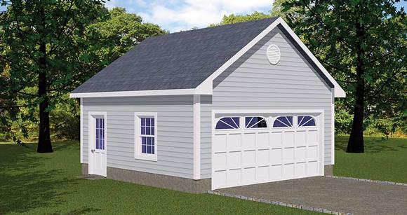 Traditional 1 Car Garage Plan 40654 Elevation