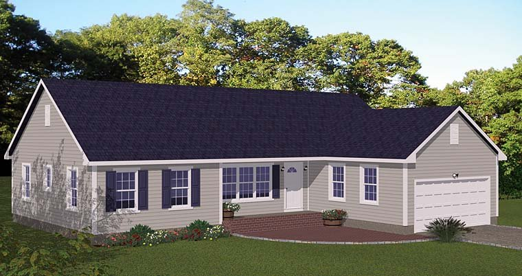 Ranch, Traditional House Plan 40667 with 3 Beds, 2 Baths, 2 Car Garage Elevation