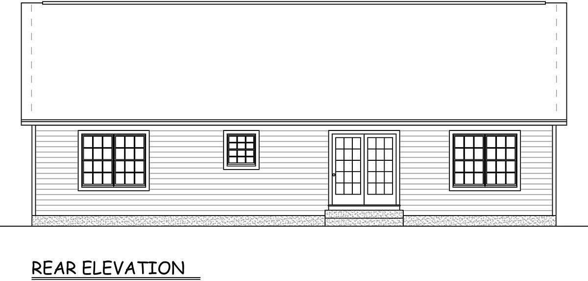 Ranch, Traditional House Plan 40677 with 3 Beds, 2 Baths, 2 Car Garage Rear Elevation