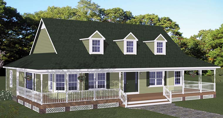 Country, Farmhouse, Southern House Plan 40678 with 3 Beds, 3 Baths Elevation