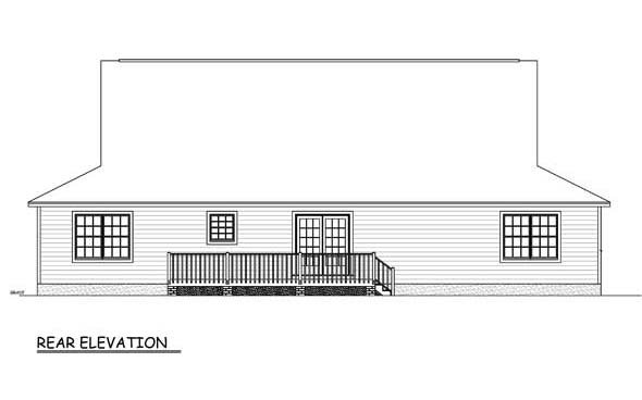Country, Farmhouse, Southern House Plan 40678 with 3 Beds, 3 Baths Rear Elevation