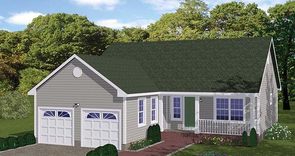 Ranch, Traditional House Plan 40685 with 3 Beds, 2 Baths, 2 Car Garage Elevation