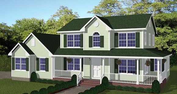 Country, Farmhouse, Southern House Plan 40687 with 4 Beds, 3 Baths, 2 Car Garage Elevation