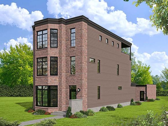 Contemporary, European, Modern House Plan 40809 with 3 Beds, 4 Baths Elevation