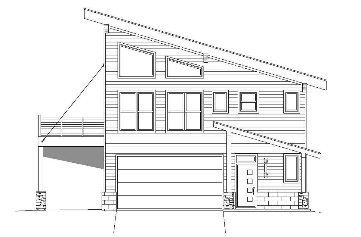 Contemporary, Modern Garage-Living Plan 40816 with 3 Beds, 2 Baths, 2 Car Garage Picture 1