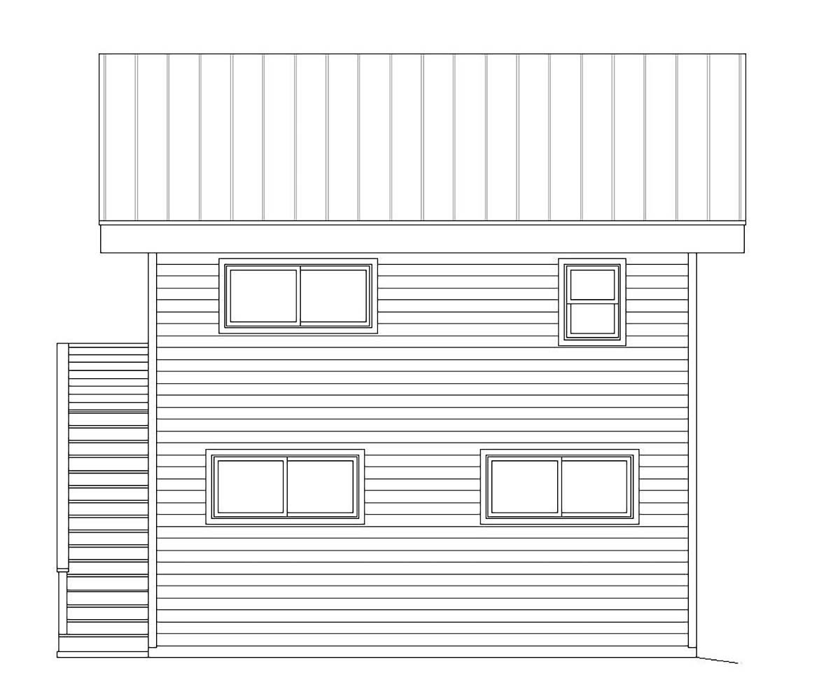 Contemporary, Modern Garage-Living Plan 40823 with 1 Beds, 1 Baths, 2 Car Garage Rear Elevation