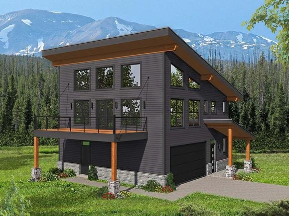 Contemporary, Modern Garage-Living Plan 40837 with 2 Beds, 2 Baths, 2 Car Garage Elevation