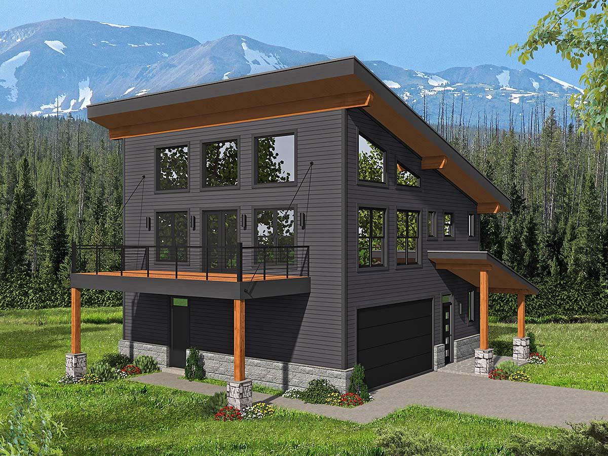 Contemporary, Modern House Plan 40838 with 3 Beds, 2 Baths, 2 Car Garage Elevation