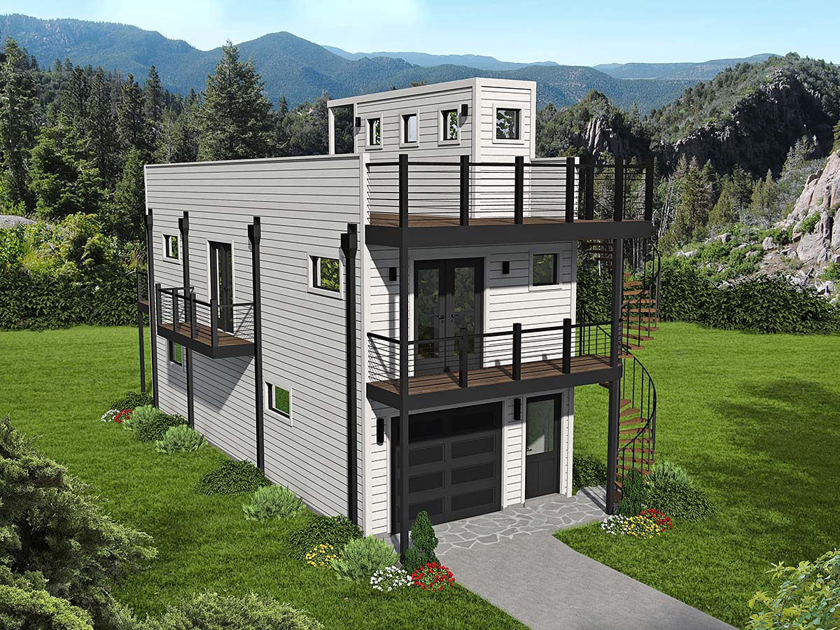 House Plan 40839 - Narrow Lot Style with 740 Sq Ft, 2 Bed, 1 Bath