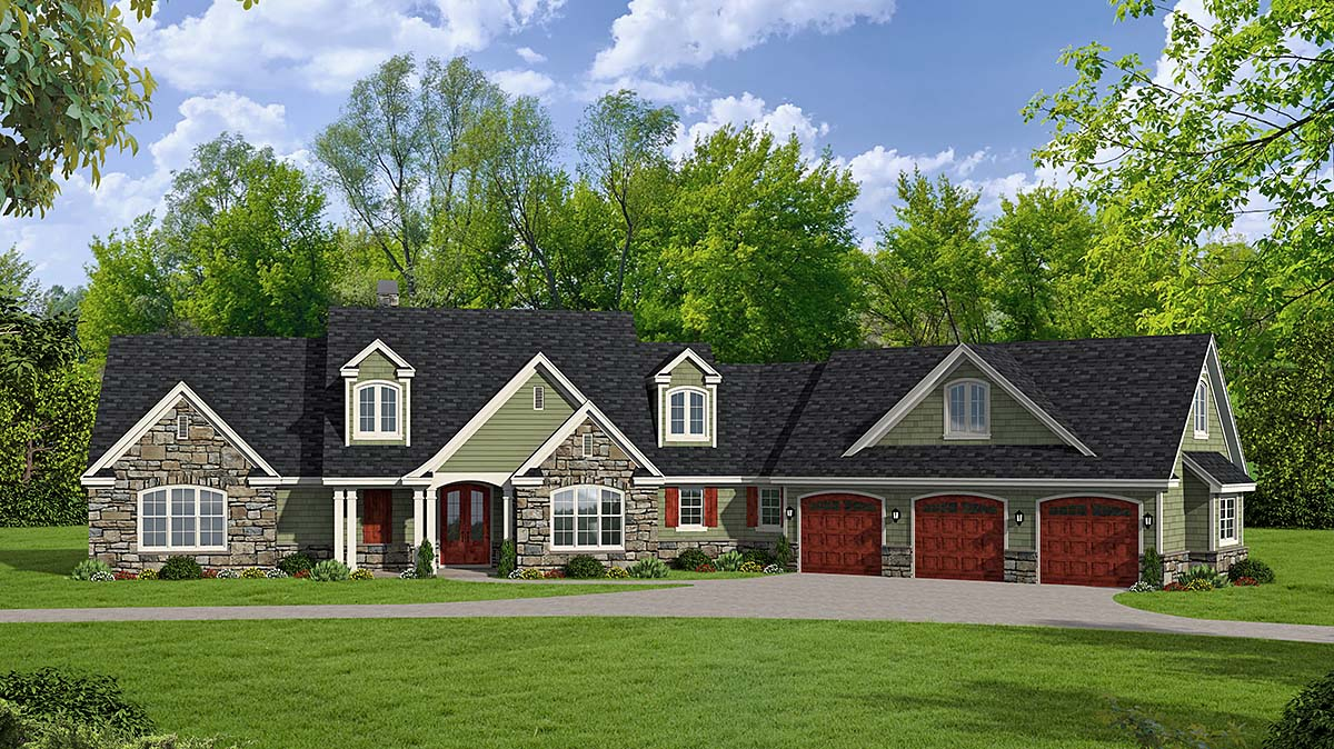 Country, Craftsman, Farmhouse, Traditional House Plan 40861 with 4 Beds, 3 Baths, 3 Car Garage Elevation