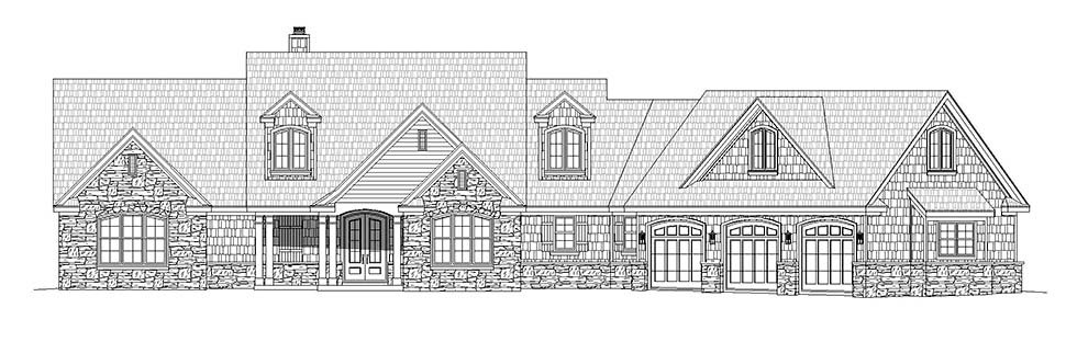 Country, Craftsman, Farmhouse, Traditional House Plan 40861 with 4 Beds, 3 Baths, 3 Car Garage Picture 3