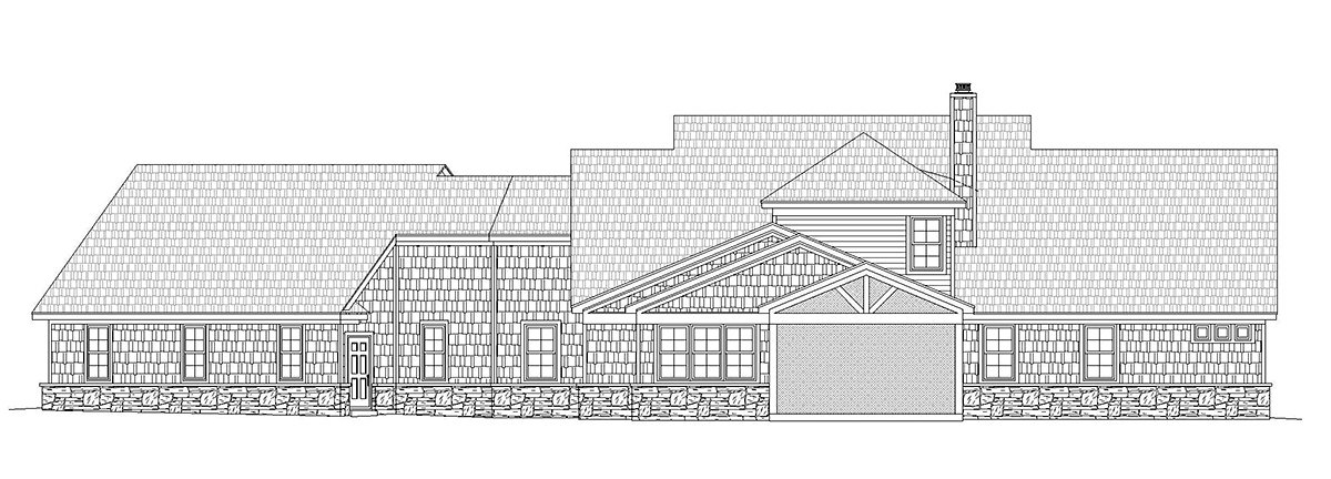 Country, Craftsman, Farmhouse, Traditional House Plan 40861 with 4 Beds, 3 Baths, 3 Car Garage Rear Elevation