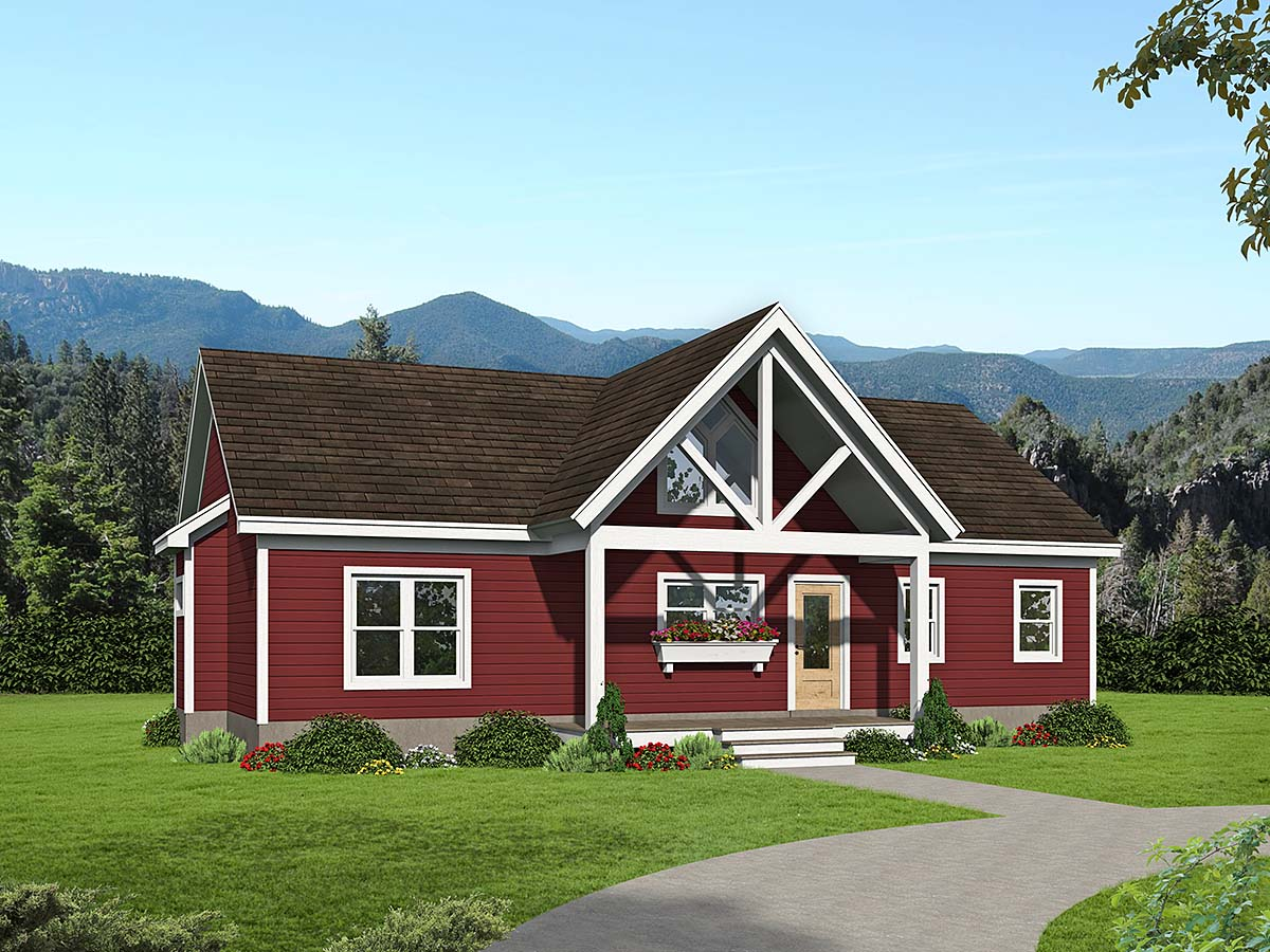 Ranch, Traditional House Plan 40891 with 3 Beds, 2 Baths Elevation