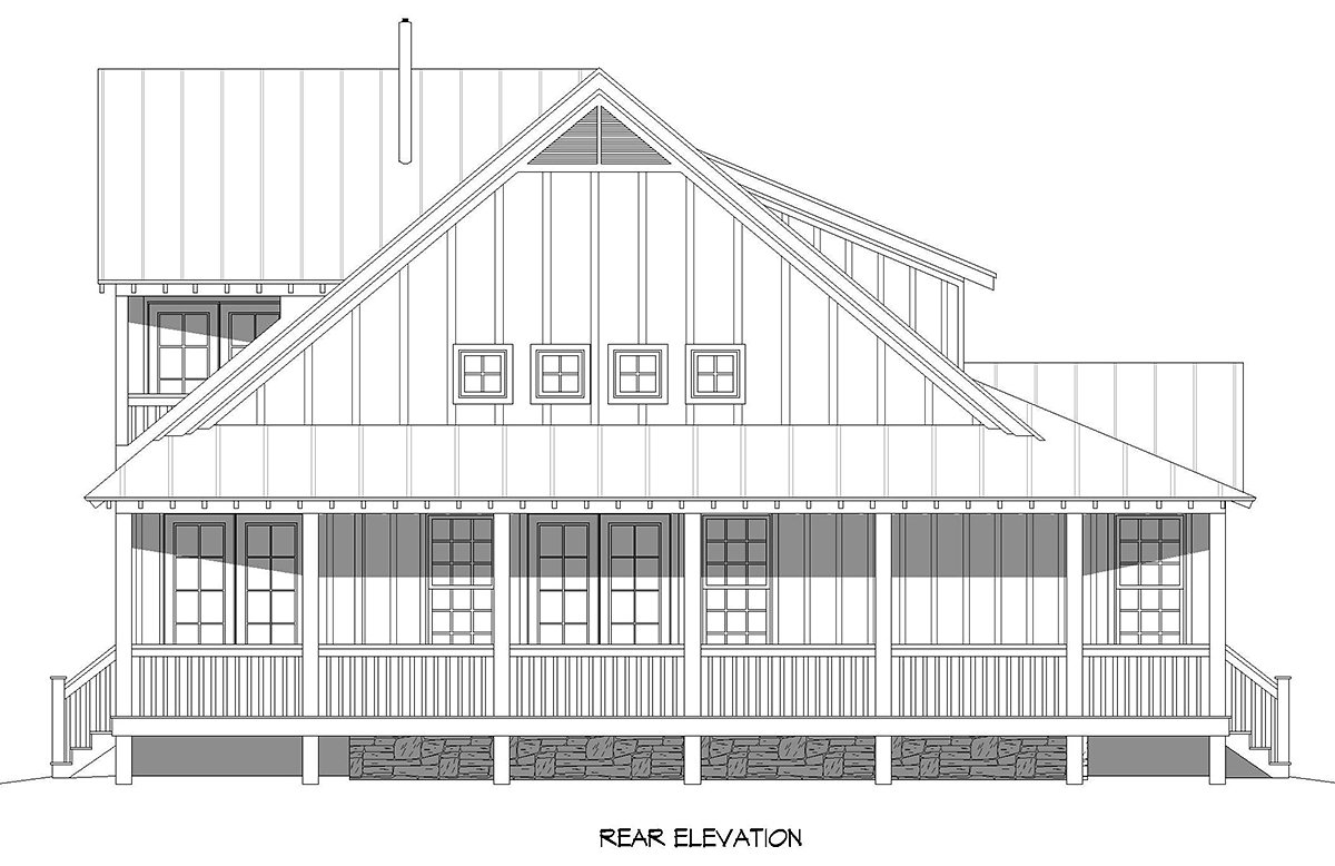 Cottage, Country, Farmhouse House Plan 40893 with 3 Beds, 3 Baths Rear Elevation