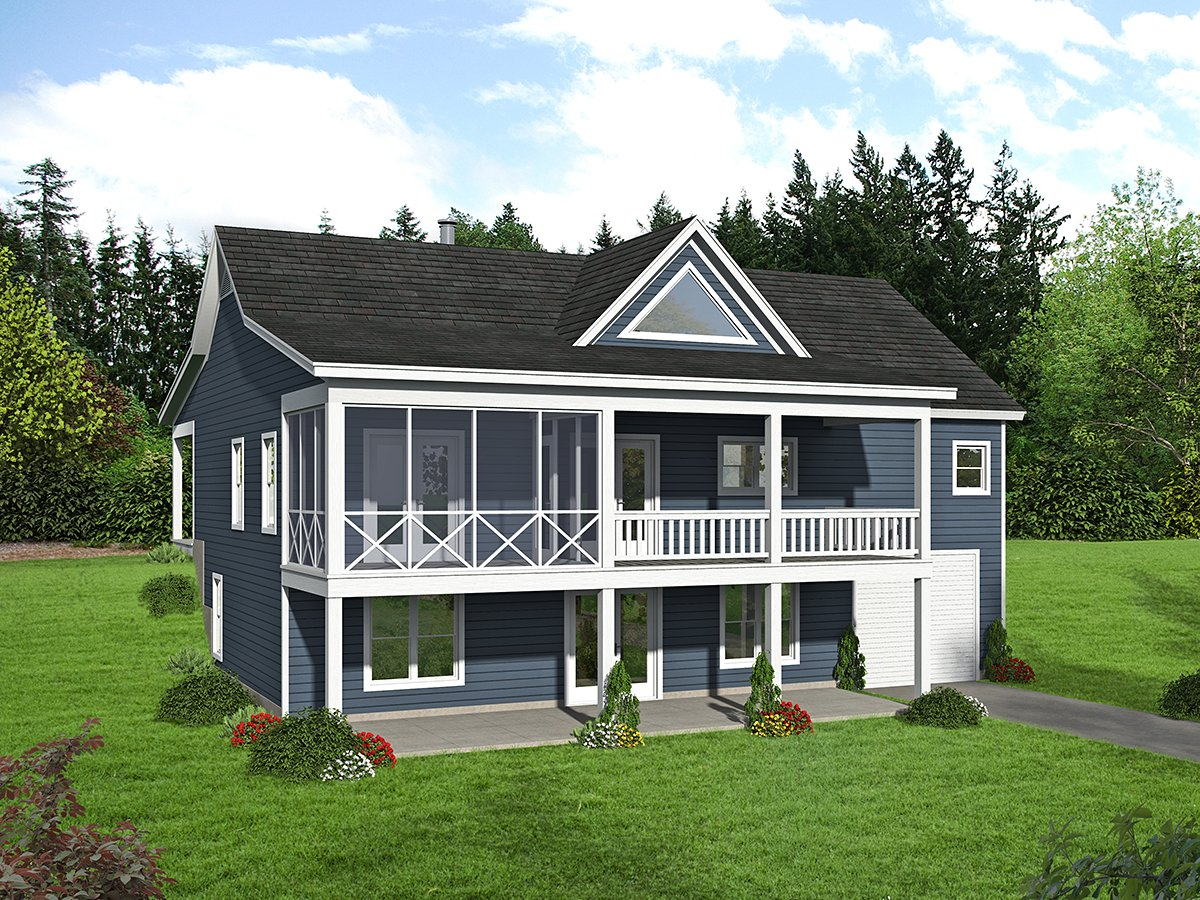 Country, Farmhouse, Ranch, Traditional House Plan 40894 with 4 Beds, 3 Baths, 1 Car Garage Rear Elevation