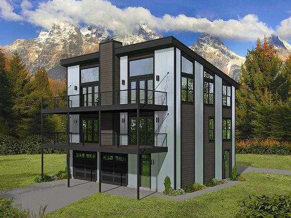 Contemporary, Modern Garage-Living Plan 40898 with 2 Beds, 3 Baths, 2 Car Garage Elevation