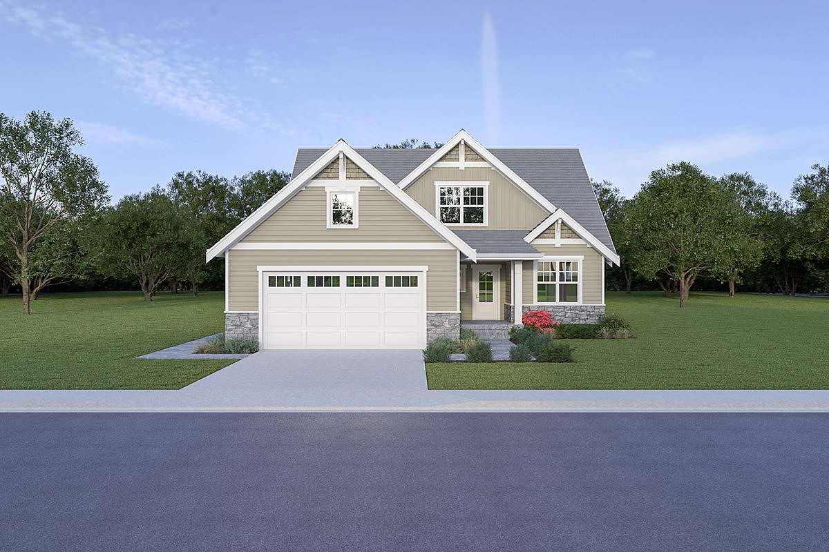 Country, Craftsman House Plan 40914 with 3 Beds, 3 Baths, 2 Car Garage Elevation