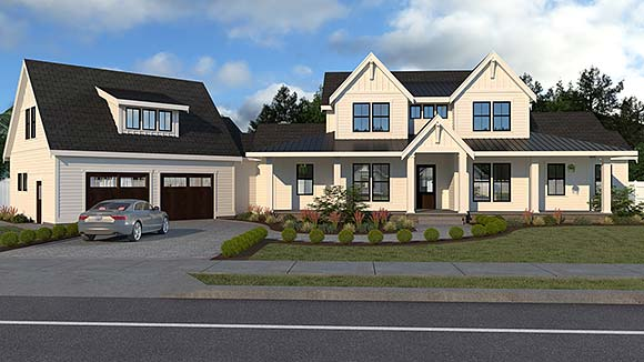 Country, Farmhouse House Plan 40951 with 5 Beds, 4 Baths, 2 Car Garage Elevation
