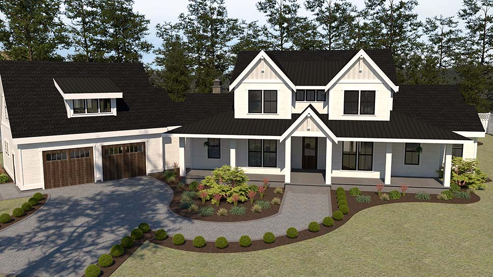 Country, Farmhouse House Plan 40951 with 5 Beds, 4 Baths, 2 Car Garage Picture 3
