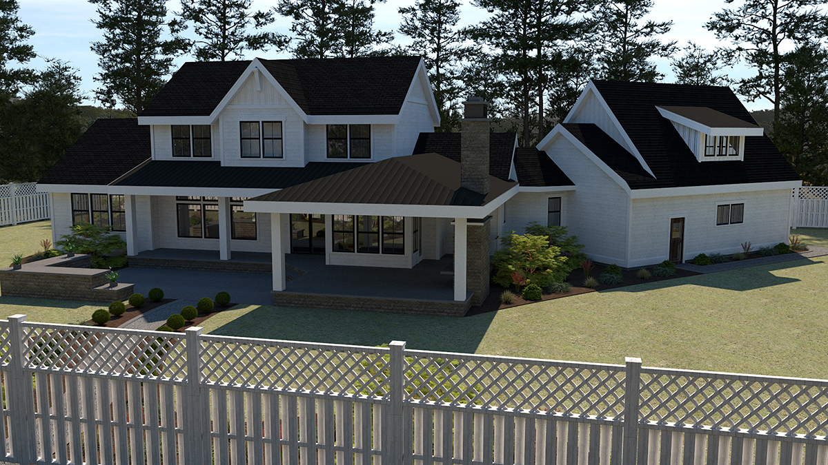 Country, Farmhouse House Plan 40951 with 5 Beds, 4 Baths, 2 Car Garage Rear Elevation