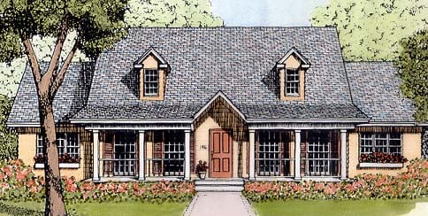 Country, One-Story House Plan 41023 with 3 Beds, 2 Baths Elevation